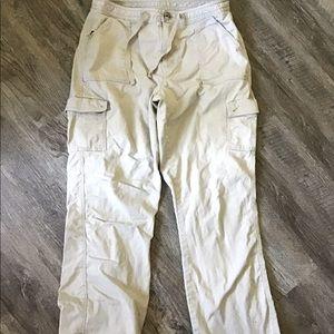 Women's LL Bean Lined Khaki Cargo Pants 8 Tall